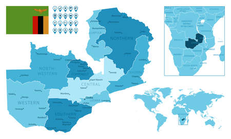 Zambia detailed administrative blue map with country flag and location on the world map. Vector illustration
