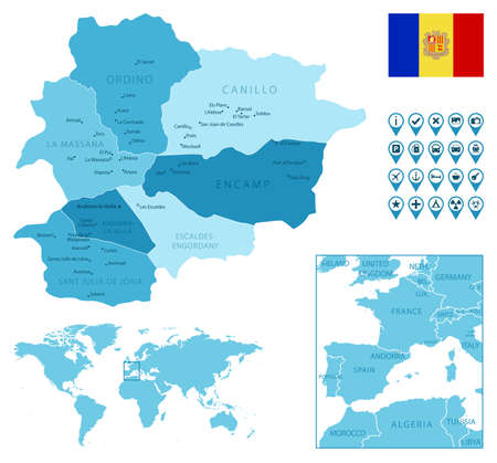 Andorra detailed administrative blue map with country flag and location on the world map.