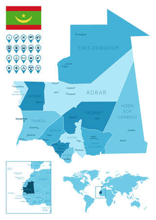 Mauritania detailed administrative blue map with country flag and location on the world map.