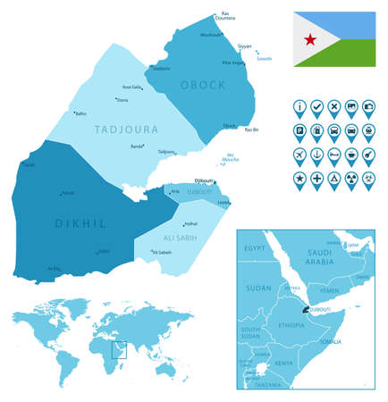 Djibouti detailed administrative blue map with country flag and location on the world map.