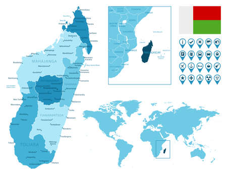 Madagascar detailed administrative blue map with country flag and location on the world map.