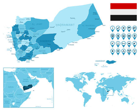 Yemen detailed administrative blue map with country flag and location on the world map. Stock fotó - 167401644