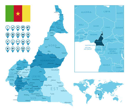 Cameroon detailed administrative blue map with country flag and location on the world map.