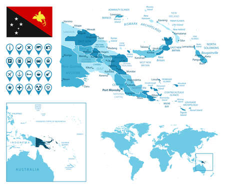 Papua New Guinea detailed administrative blue map with country flag and location on the world map. Stock fotó - 167397374