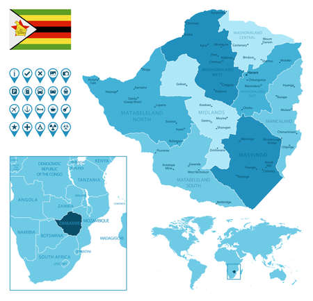 Zimbabwe detailed administrative blue map with country flag and location on the world map.