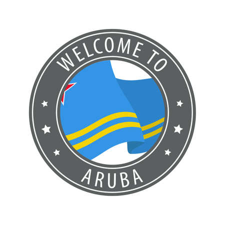 Welcome to Aruba. Gray stamp with a waving country flag. Collection of welcome icons.