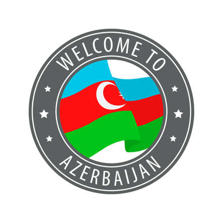 Welcome to Azerbaijan. Gray stamp with a waving country flag. Collection of welcome icons.