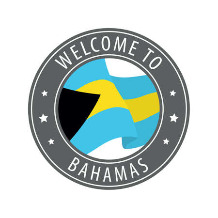 Welcome to Bahamas. Gray stamp with a waving country flag. Collection of welcome icons.