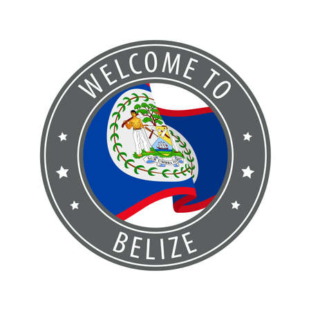 Welcome to Belize. Gray stamp with a waving country flag. Collection of welcome icons. 矢量图像
