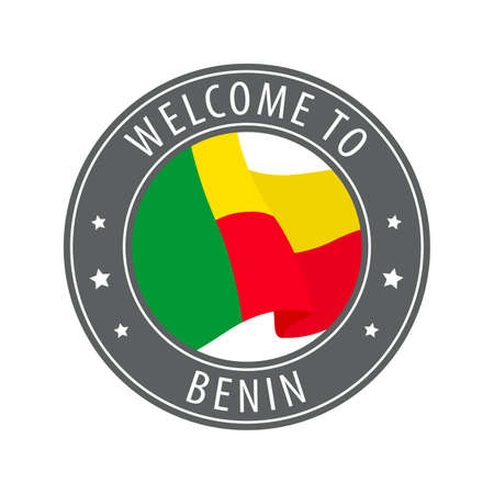 Welcome to Benin. Gray stamp with a waving country flag. Collection of welcome icons. 矢量图像