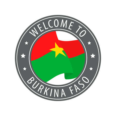 Welcome to Burkina Faso. Gray stamp with a waving country flag. Collection of welcome icons. 矢量图像