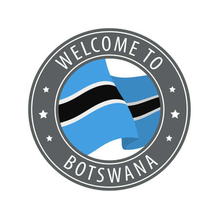 Welcome to Botswana. Gray stamp with a waving country flag. Collection of welcome icons.