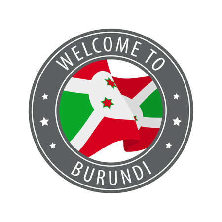 Welcome to Burundi. Gray stamp with a waving country flag. Collection of welcome icons.