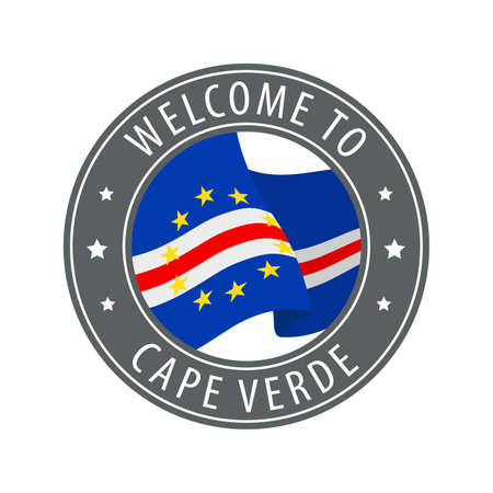 Welcome to Cape Verde. Gray stamp with a waving country flag. Collection of welcome icons.