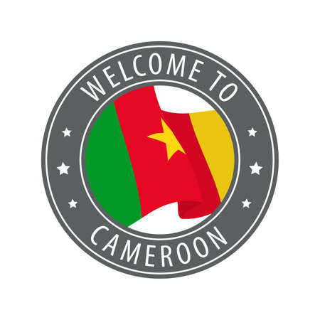 Welcome to Cameroon. Gray stamp with a waving country flag. Collection of welcome icons.