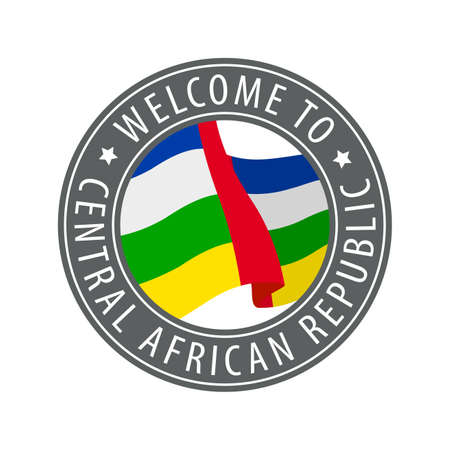 Welcome to Central African Republic. Gray stamp with a waving country flag. Collection of welcome icons.