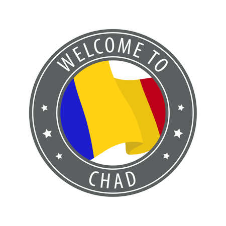 Welcome to Chad. Gray stamp with a waving country flag. Collection of welcome icons. 矢量图像