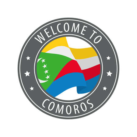 Welcome to Comoros. Gray stamp with a waving country flag. Collection of welcome icons. 矢量图像