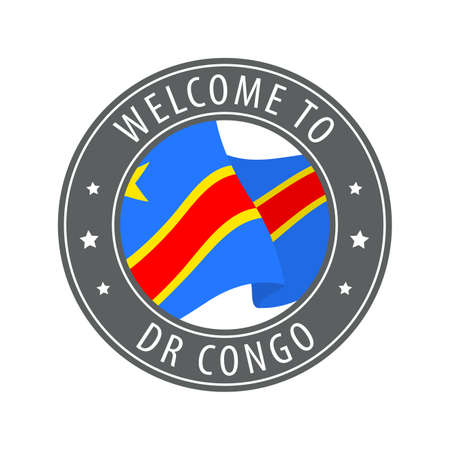 Welcome to Democratic Republic of the Congo. Gray stamp with a waving country flag. Collection of welcome icons. 矢量图像