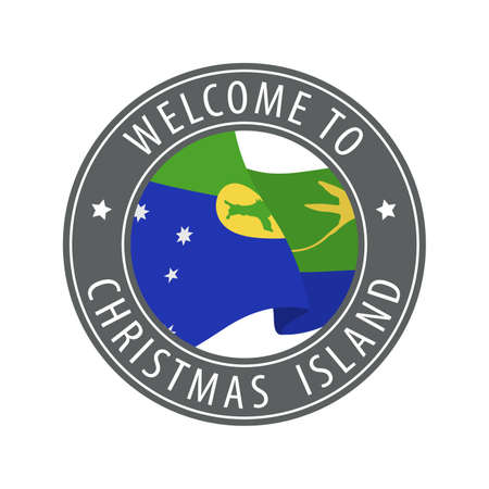 Welcome to Christmas Island. Gray stamp with a waving country flag. Collection of welcome icons. 矢量图像