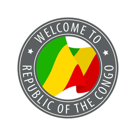 Welcome to Republic of the Congo. Gray stamp with a waving country flag. Collection of welcome icons. 矢量图像
