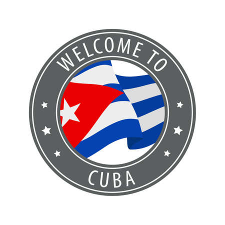 Welcome to Cuba. Gray stamp with a waving country flag. Collection of welcome icons.