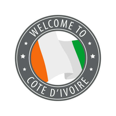 Welcome to Cote dIvoire. Gray stamp with a waving country flag. Collection of welcome icons. 矢量图像