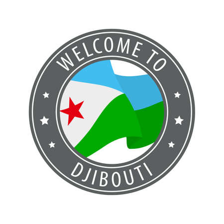 Welcome to Djibouti. Gray stamp with a waving country flag. Collection of welcome icons. 矢量图像