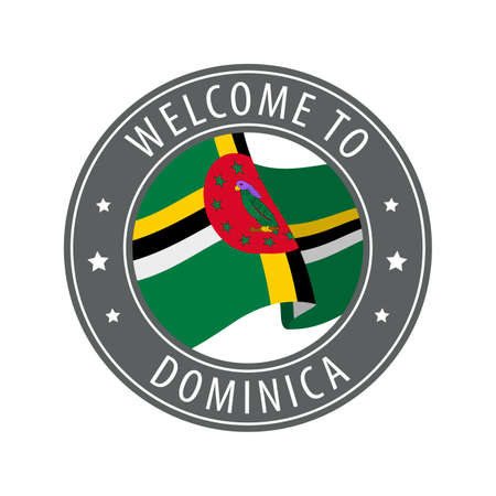 Welcome to Dominica. Gray stamp with a waving country flag. Collection of welcome icons. 矢量图像