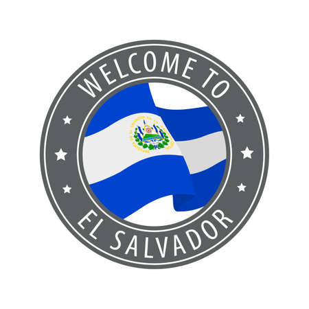 Welcome to El Salvador. Gray stamp with a waving country flag. Collection of welcome icons.