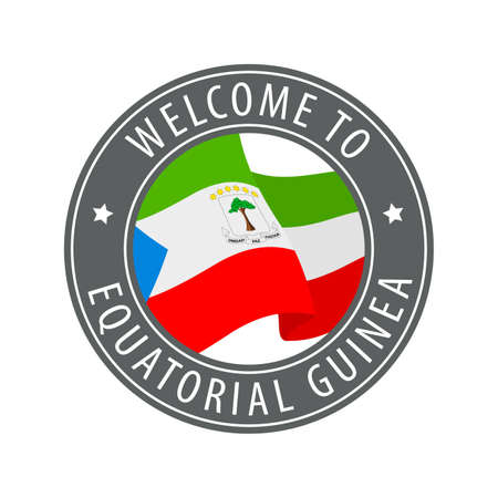 Welcome to Equatorial Guinea. Gray stamp with a waving country flag. Collection of welcome icons.