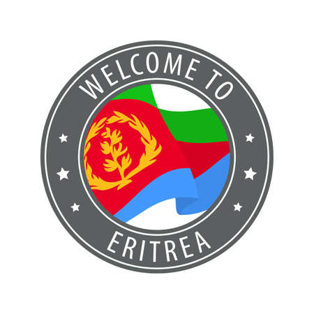 Welcome to Eritrea. Gray stamp with a waving country flag. Collection of welcome icons.