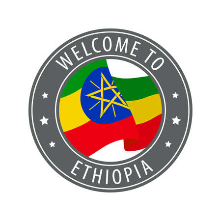 Welcome to Ethiopia. Gray stamp with a waving country flag. Collection of welcome icons.