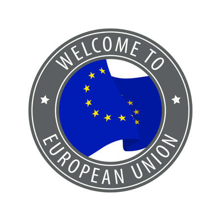 Welcome to European Union. Gray stamp with a waving country flag. Collection of welcome icons.