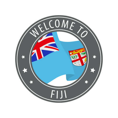 Welcome to Fiji. Gray stamp with a waving country flag. Collection of welcome icons.
