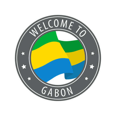 Welcome to Gabon. Gray stamp with a waving country flag. Collection of welcome icons. 矢量图像