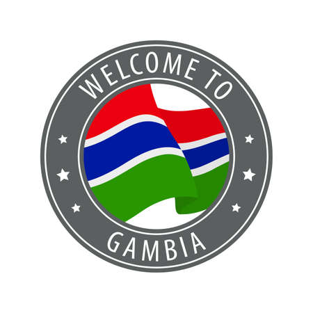 Welcome to Gambia. Gray stamp with a waving country flag. Collection of welcome icons. 矢量图像