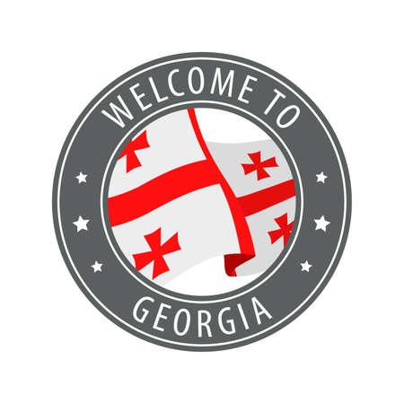 Welcome to Georgia. Gray stamp with a waving country flag. Collection of welcome icons. 矢量图像