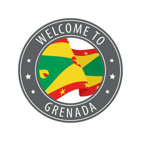 Welcome to Grenada. Gray stamp with a waving country flag. Collection of welcome icons.