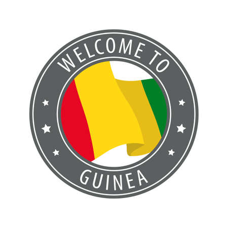 Welcome to Guinea. Gray stamp with a waving country flag. Collection of welcome icons.