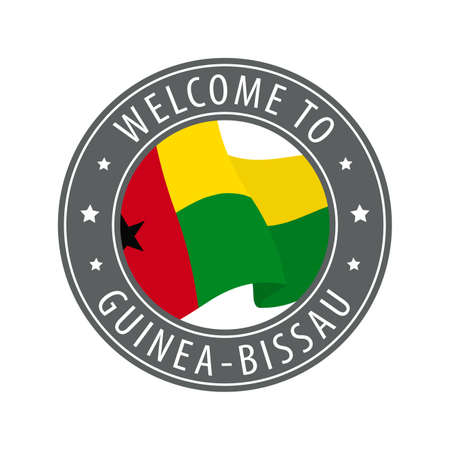 Welcome to Guinea-Bissau. Gray stamp with a waving country flag. Collection of welcome icons. 矢量图像