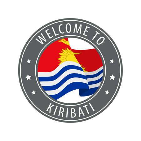 Welcome to Kiribati. Gray stamp with a waving country flag. Collection of welcome icons. 矢量图像