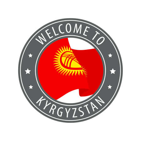 Welcome to Kyrgyzstan. Gray stamp with a waving country flag. Collection of welcome icons.