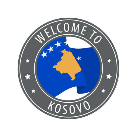 Welcome to Kosovo. Gray stamp with a waving country flag. Collection of welcome icons.