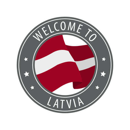 Welcome to Latvia. Gray stamp with a waving country flag. Collection of welcome icons.