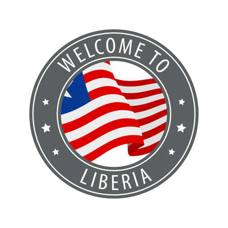 Welcome to Liberia. Gray stamp with a waving country flag. Collection of welcome icons.