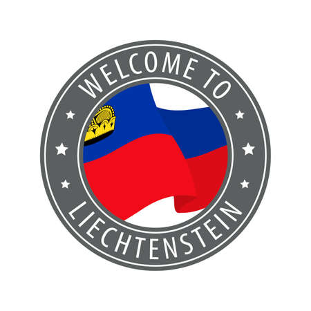 Welcome to Liechtenstein. Gray stamp with a waving country flag. Collection of welcome icons. 矢量图像