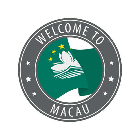 Welcome to Macau. Gray stamp with a waving country flag. Collection of welcome icons.