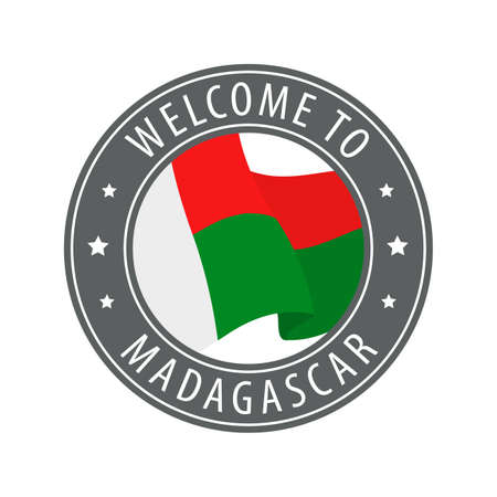 Welcome to Madagascar. Gray stamp with a waving country flag. Collection of welcome icons.