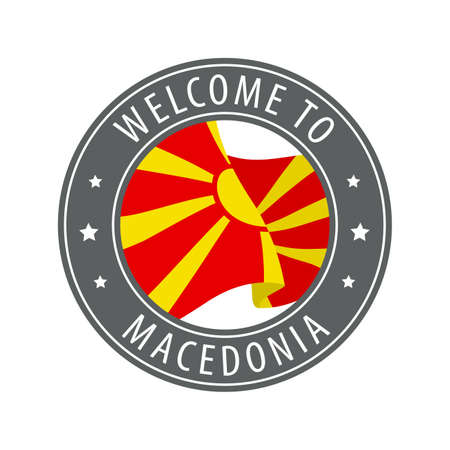 Welcome to Macedonia. Gray stamp with a waving country flag. Collection of welcome icons.